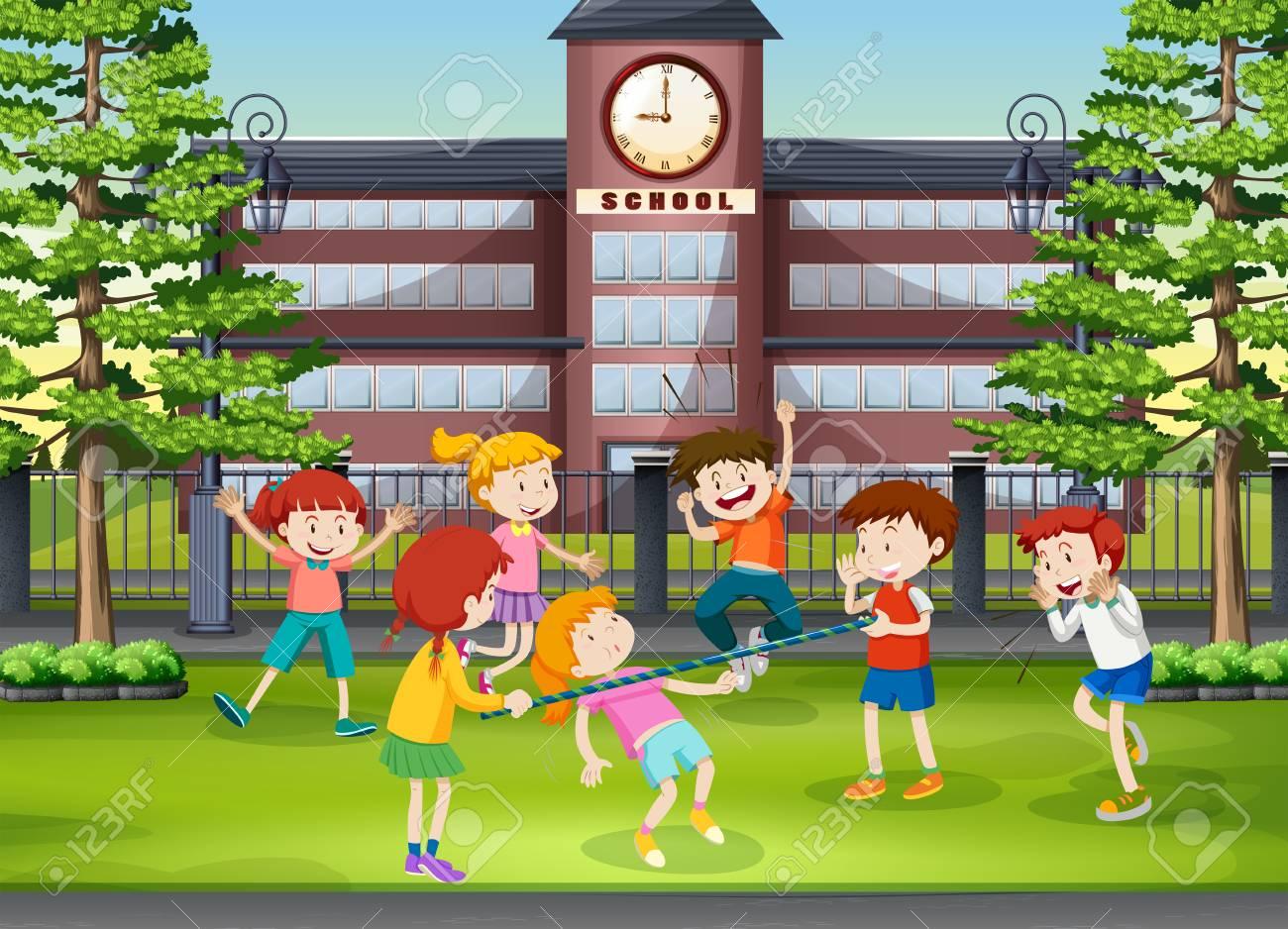 Muchos Niños Jugando En El Patio De La Escuela Ilustración Ilustraciones Vectoriales Clip Art Vectorizado Libre De Derechos Image 68517982