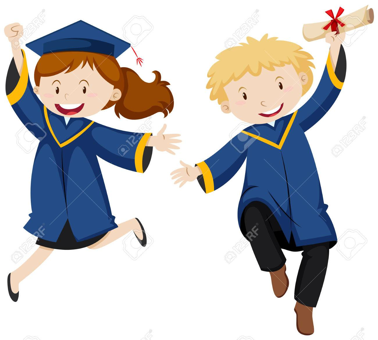 Boy And Girl In Graduation Gown Illustration Royalty Free Cliparts ...
