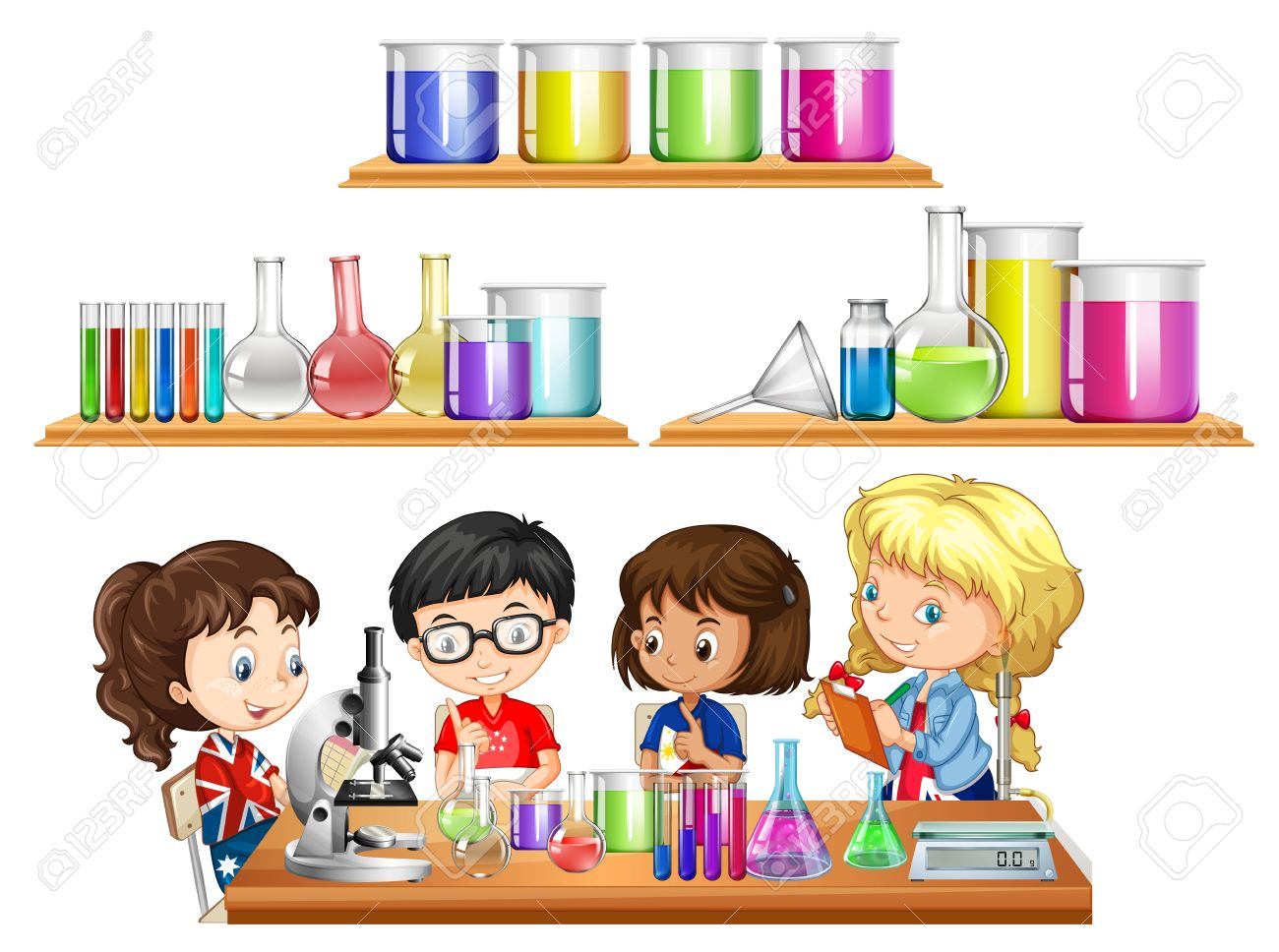 kids doing science experiment and set of beakers illustration rh 123rf com science experiment clipart free Cooking Clip Art