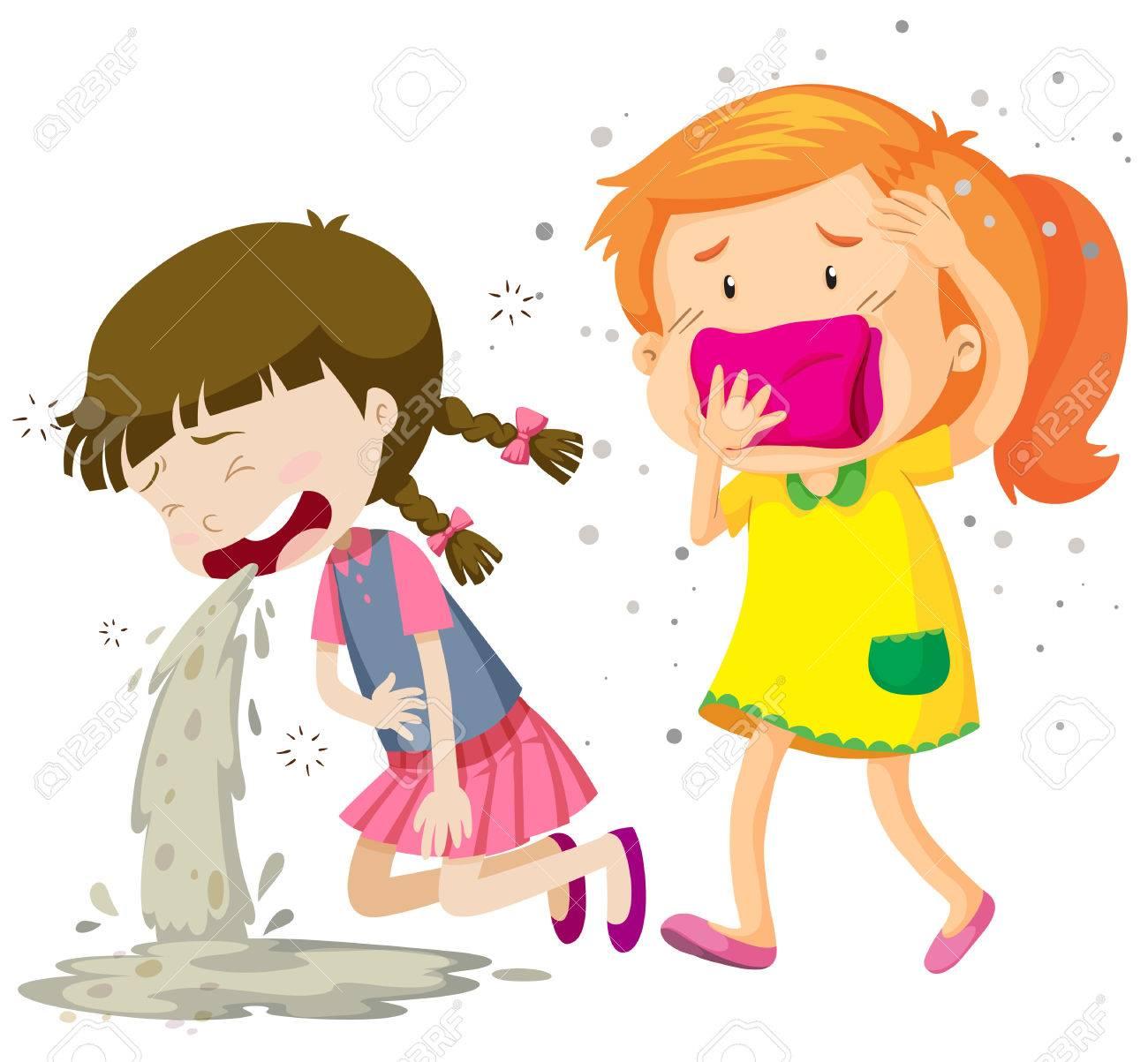 病気のイラストをされている二人の女の子のイラスト素材ベクタ Image