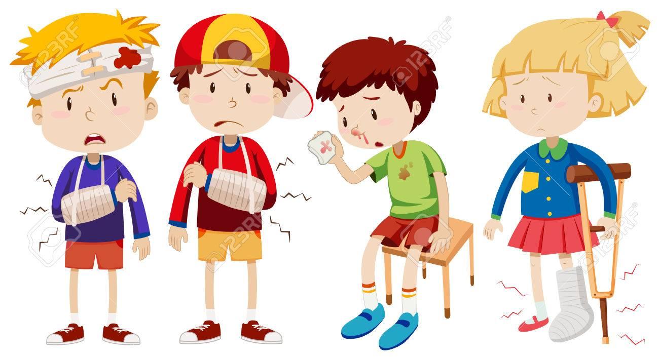 Boys and girl with broken bones illustration - 68832347