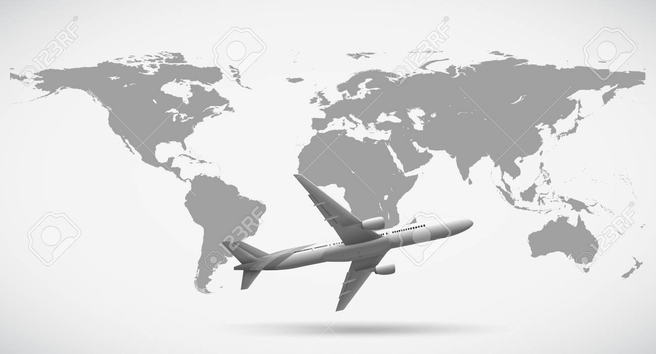 Grayscale of world map and airplane illustration royalty free grayscale of world map and airplane illustration stock vector 68832345 gumiabroncs Gallery