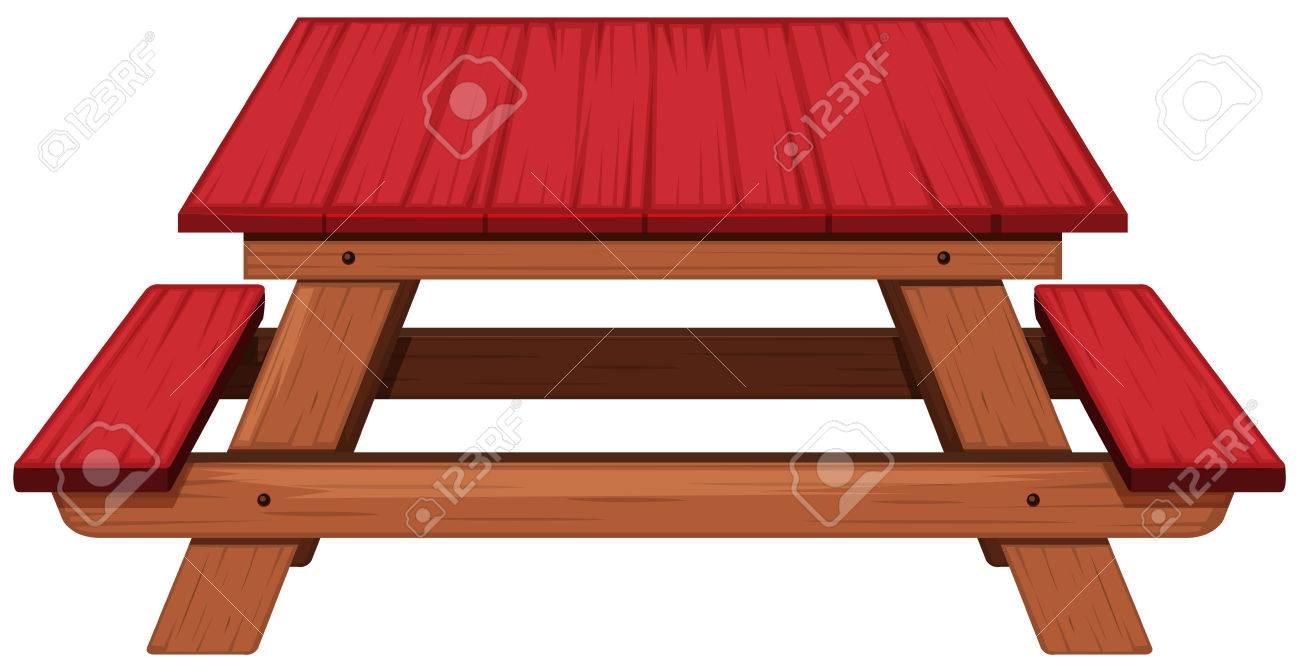 Picnic Table Painted In Red Illustration Stock Vector   68832356