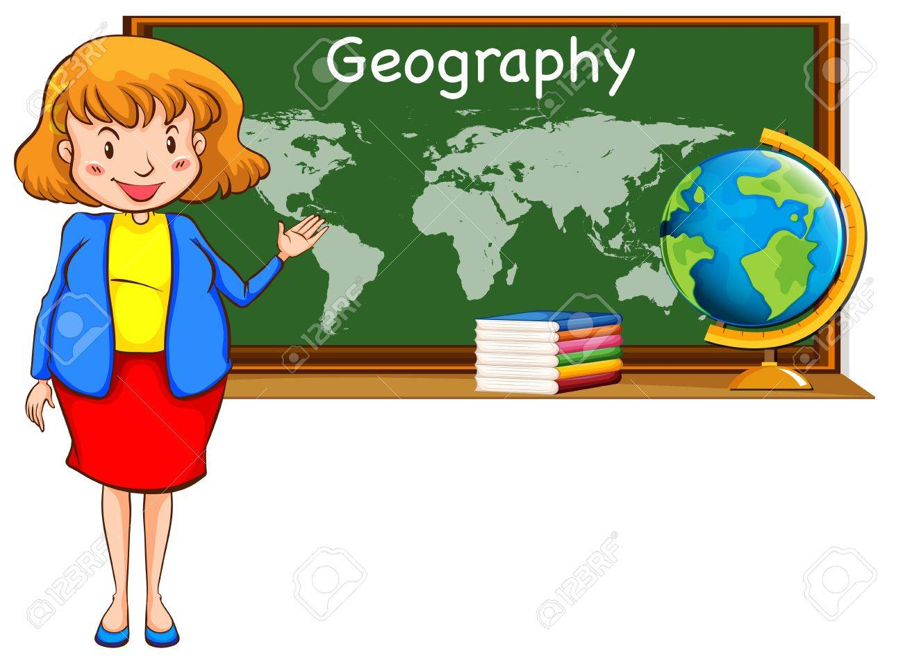 Geography Teacher And World Map On The Board Illustration Royalty
