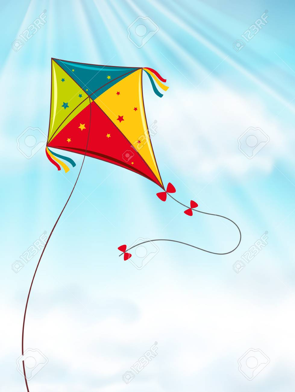 colorful kite flying in blue sky illustration royalty free cliparts