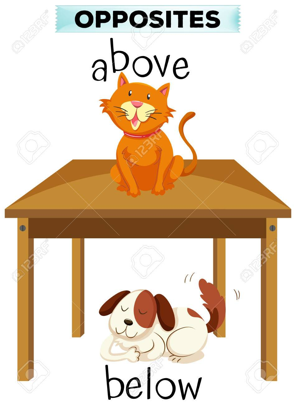 opposite words for above and below illustration royalty free