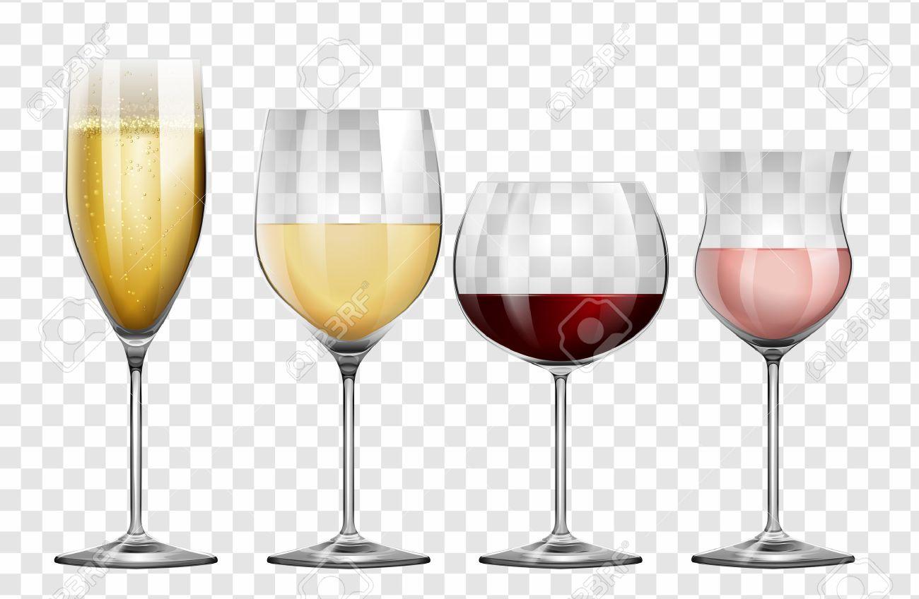 Four different kinds of wine glasses illustration - 69124818