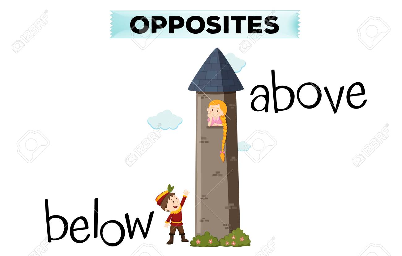 opposite words for below and above illustration royalty free