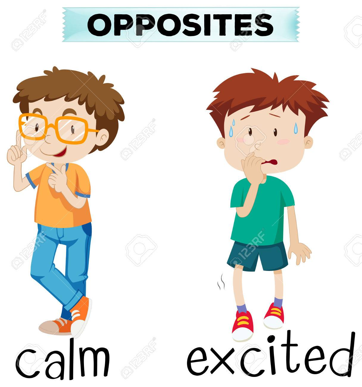 opposite words for calm and excited illustration royalty free