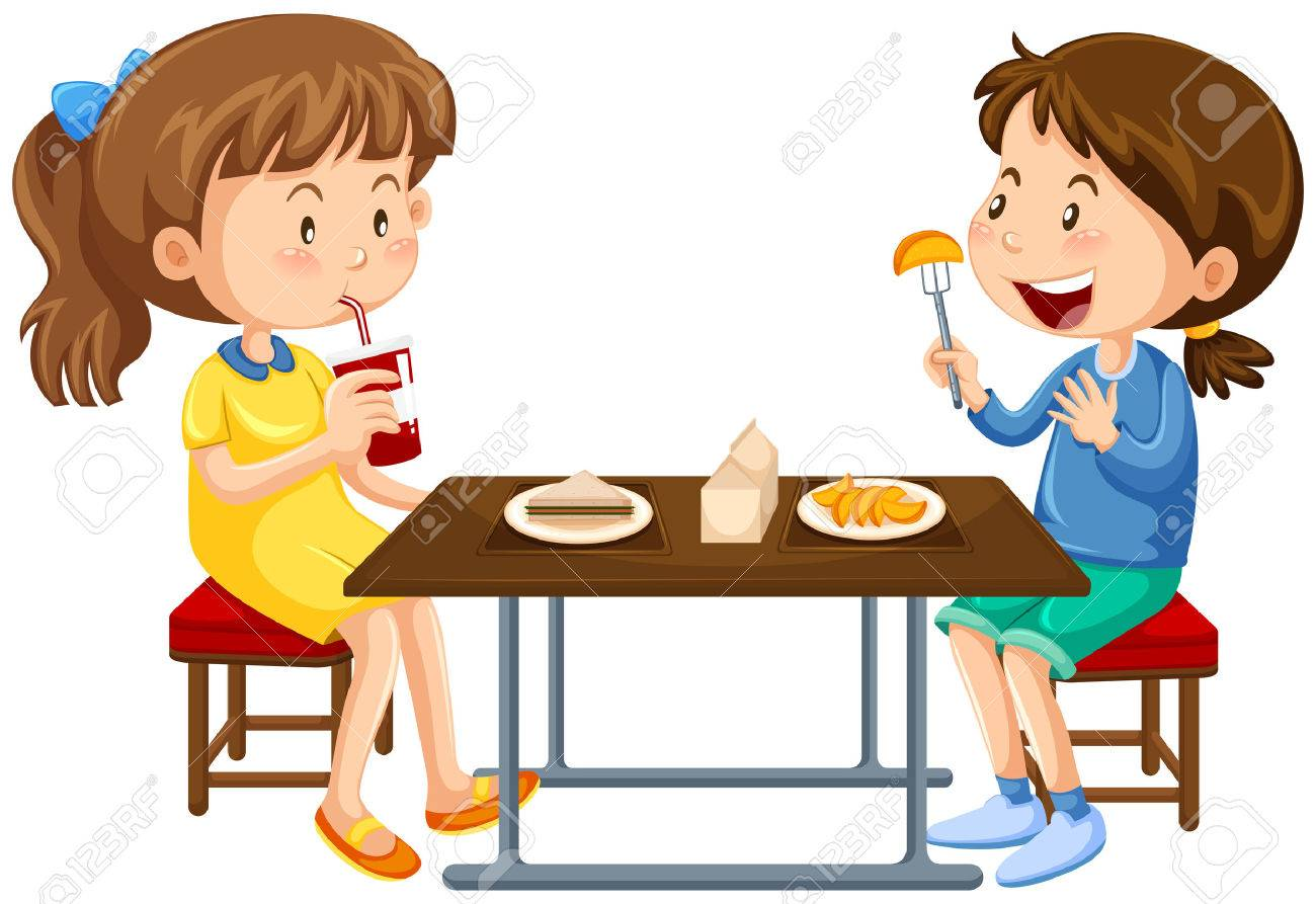 Two girls eating on picnic table illustration - 71260626
