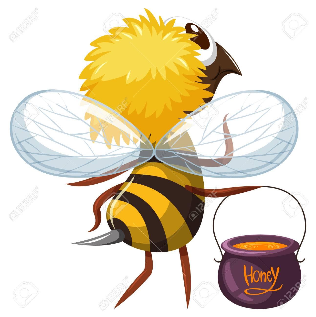 蜂蜂蜜イラストのポットで飛んでのイラスト素材ベクタ Image 71261015