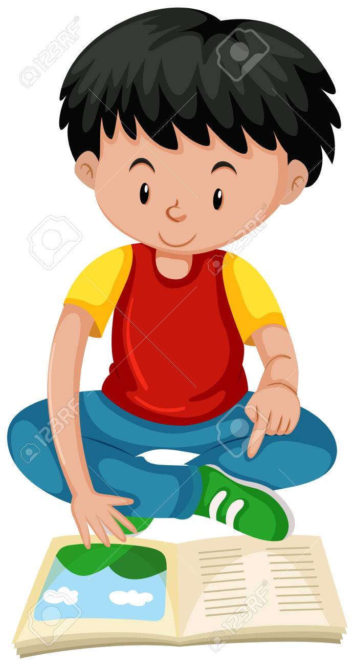 little boy reading book illustration royalty free cliparts, vectors