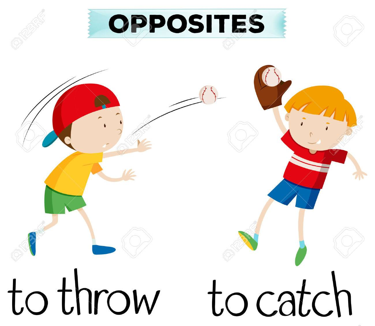 Opposite words with throw and catch illustration - 71261209