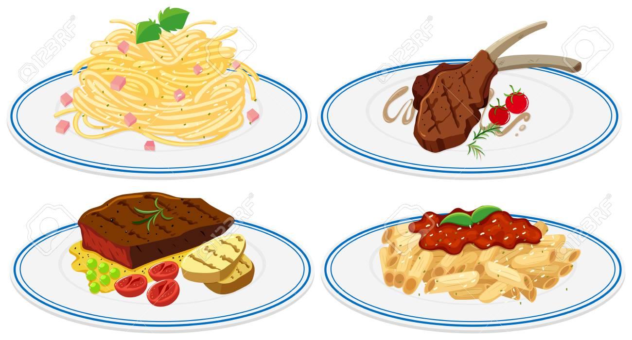 料理イラストを様々 な食品のイラスト素材ベクタ Image 72836826