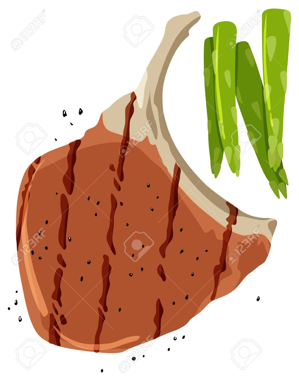 Pork Chop And Asparagus On White Background Illustration Royalty ... for Pork Chop Clipart  181obs