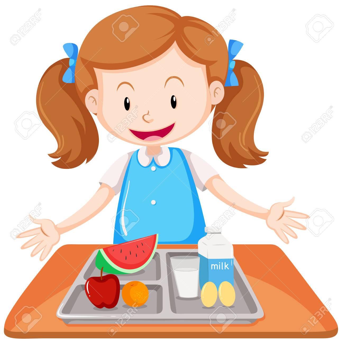 Girl having lunch on table illustration - 72869431