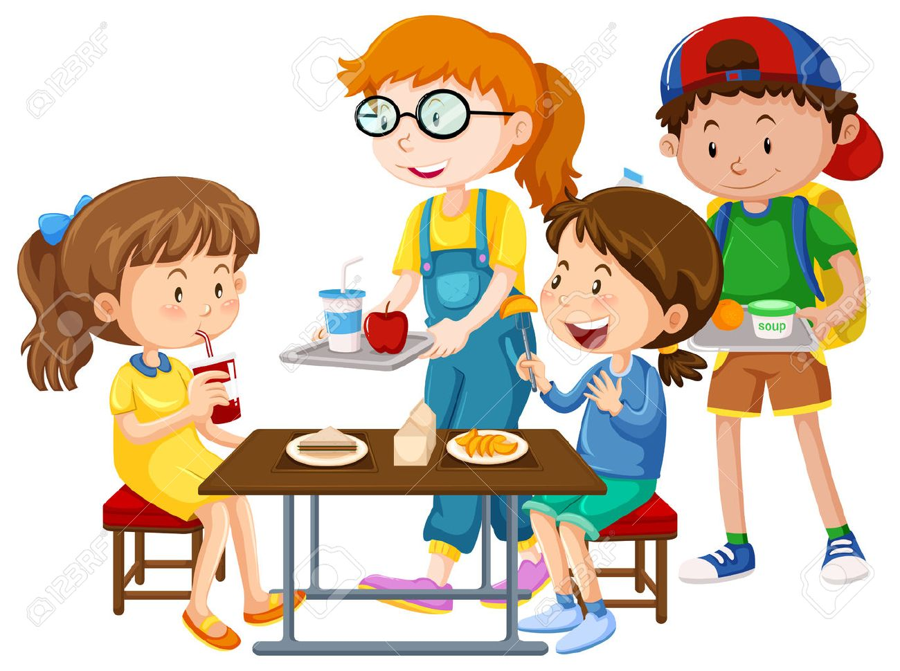 children having meal at table illustration royalty free cliparts