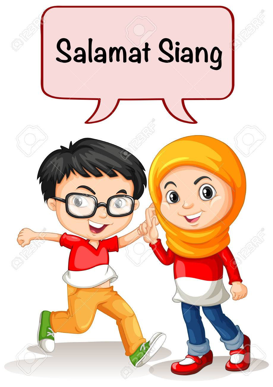 Boy and girl greeting in indonesian language illustration royalty boy and girl greeting in indonesian language illustration stock vector 73438503 m4hsunfo