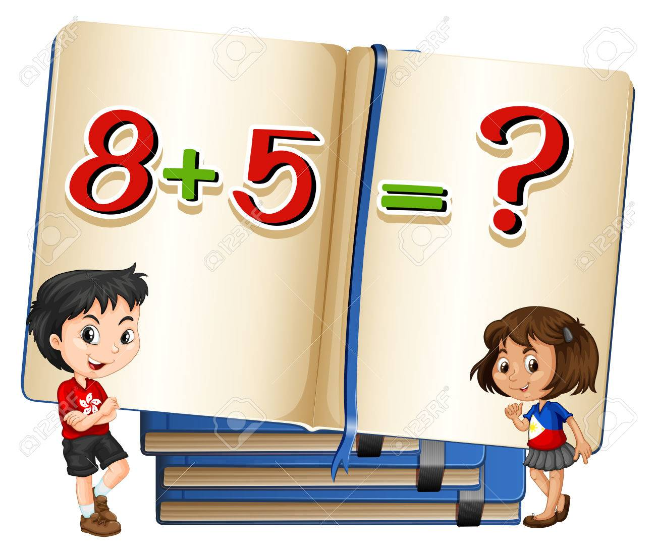 Kids And Math Problem In Book Illustration Royalty Free Cliparts ...