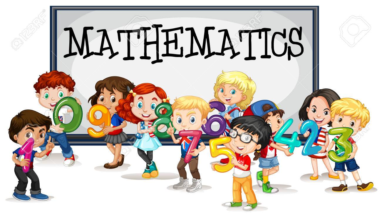 Kids With Numbers And Mathematics Sign Illustration Royalty Free ...
