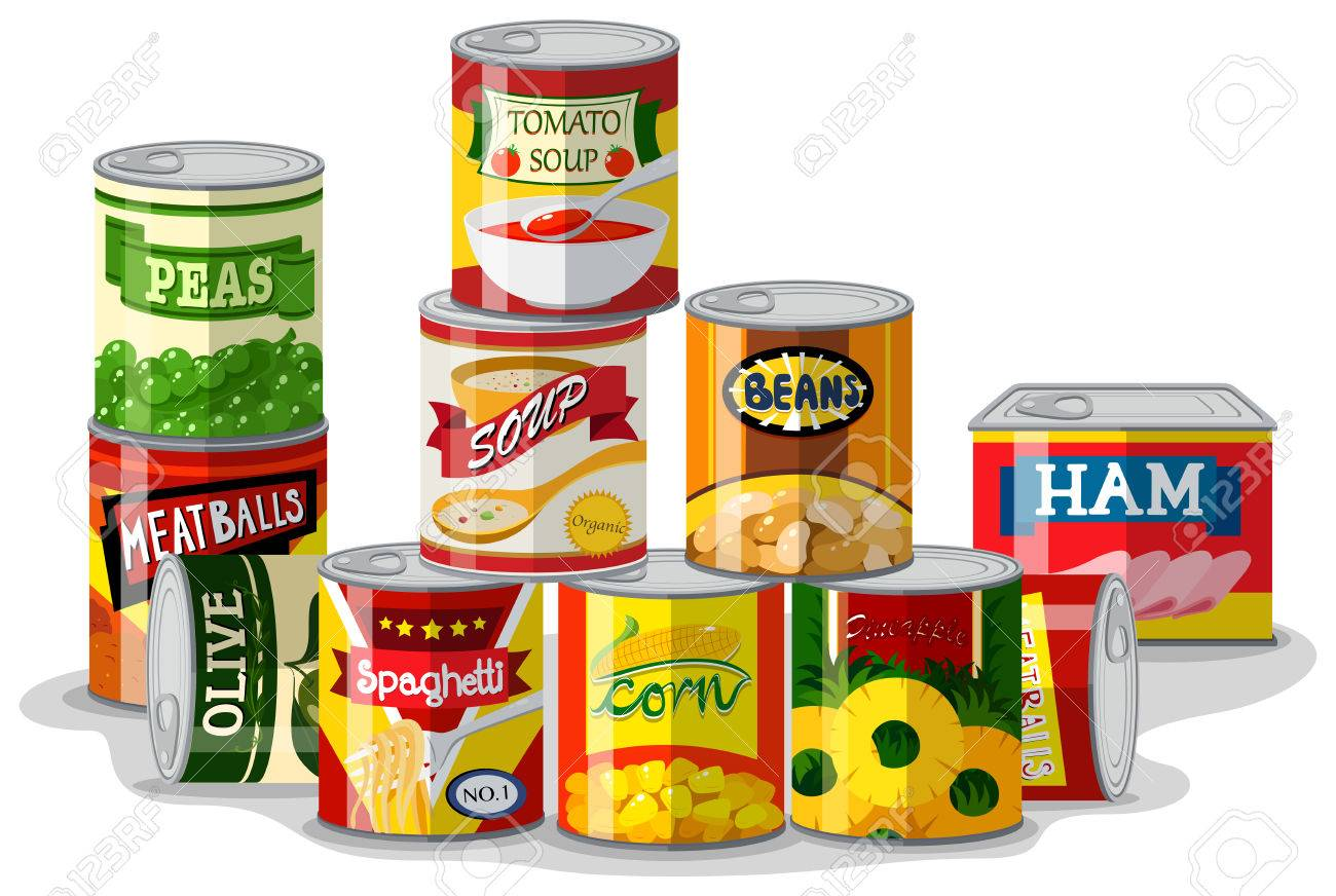 Different types of canned food illustration - 74311508