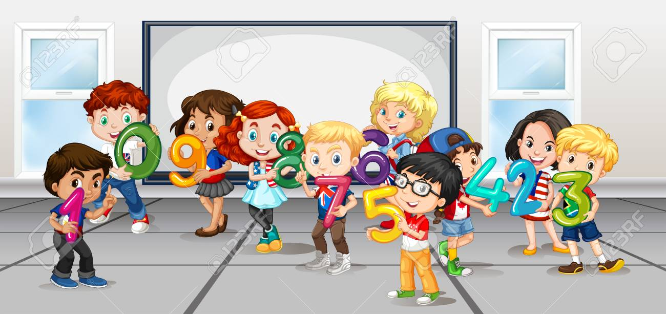 Children counting numbers in room illustration