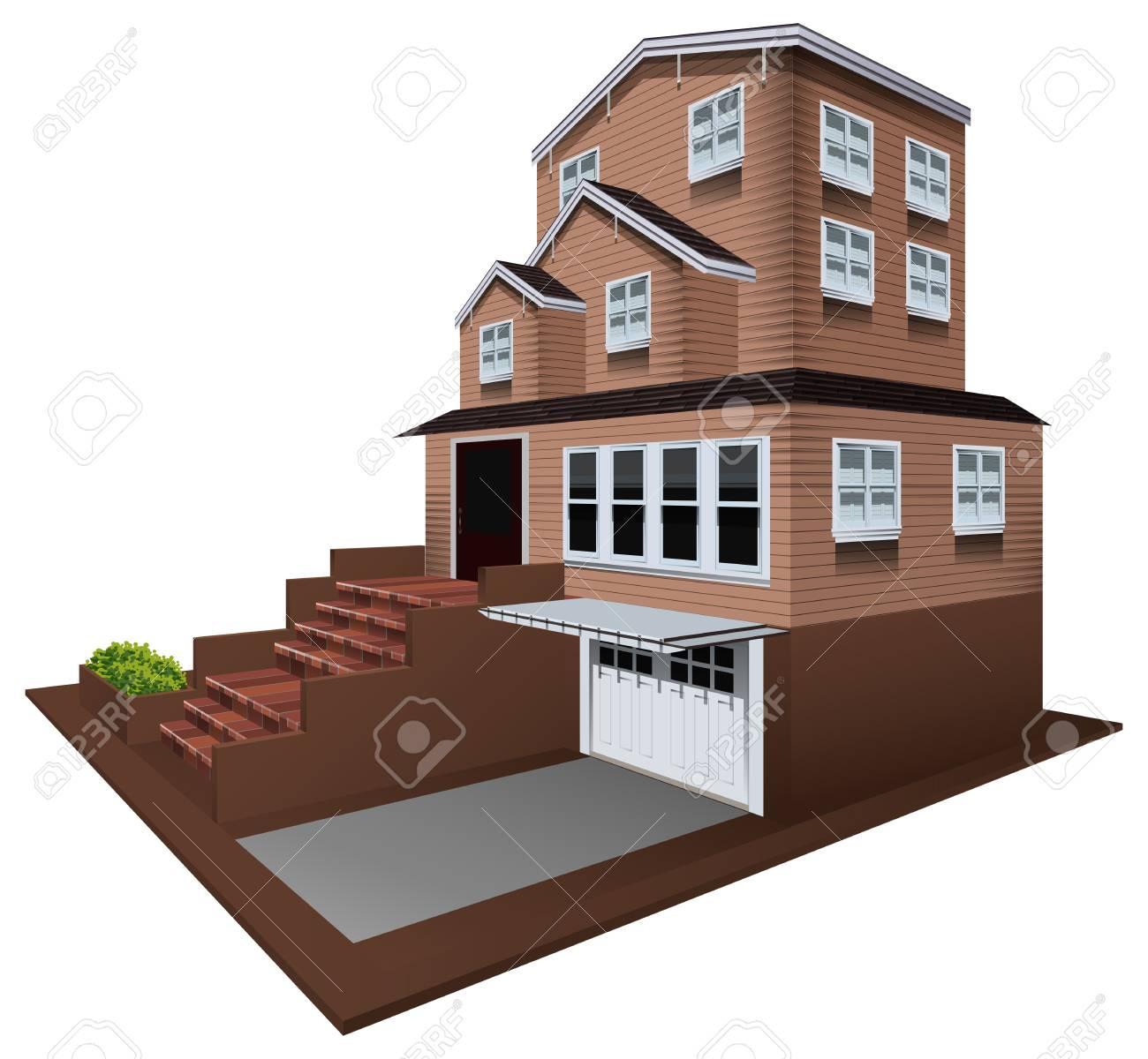 3D Design For House With Garage Illustration Banco De Imagens   76424939