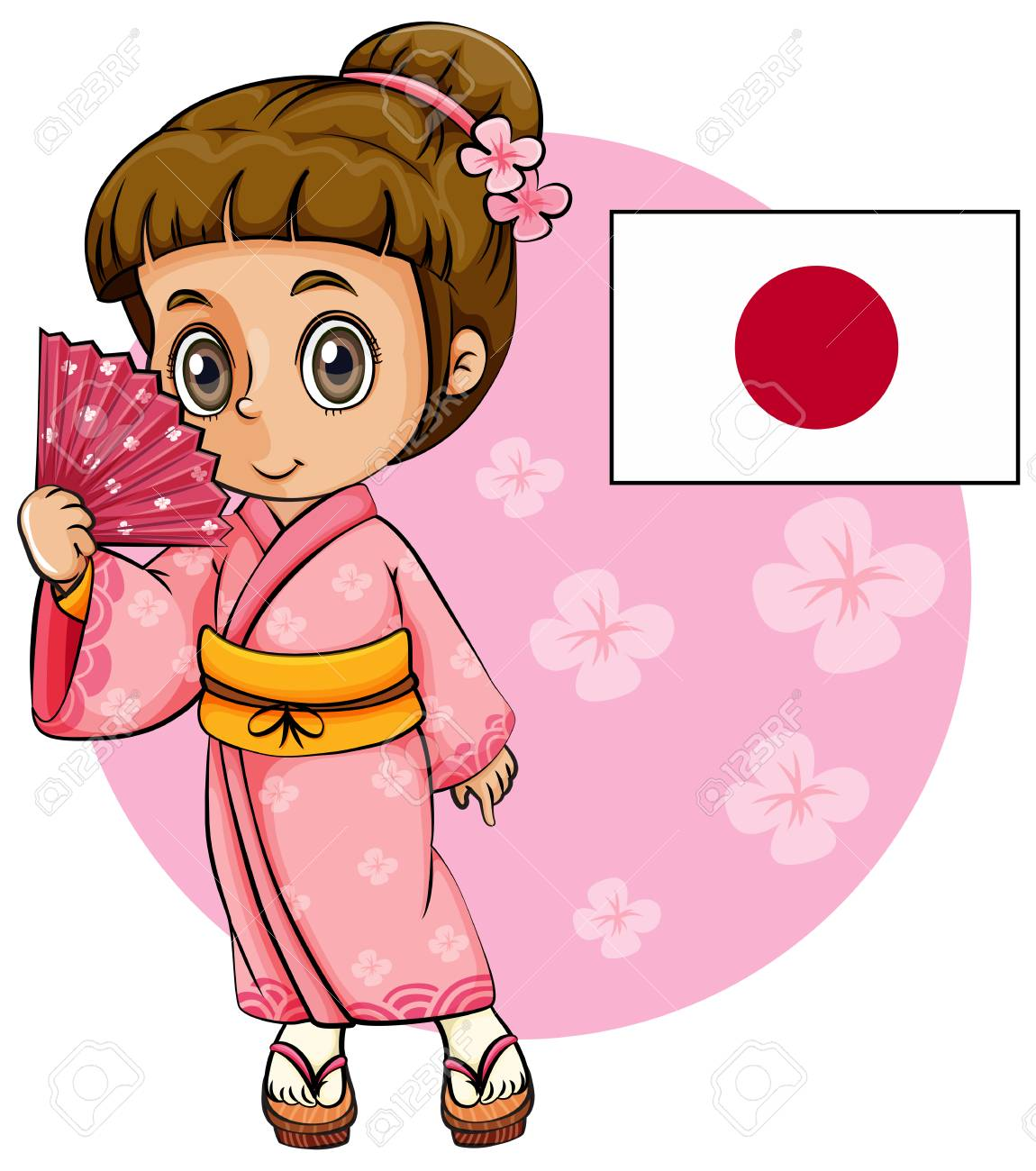 japanese girl in pink kimono and japan flag illustration royalty rh 123rf com japanese clip art coloring pages japanese clip art free