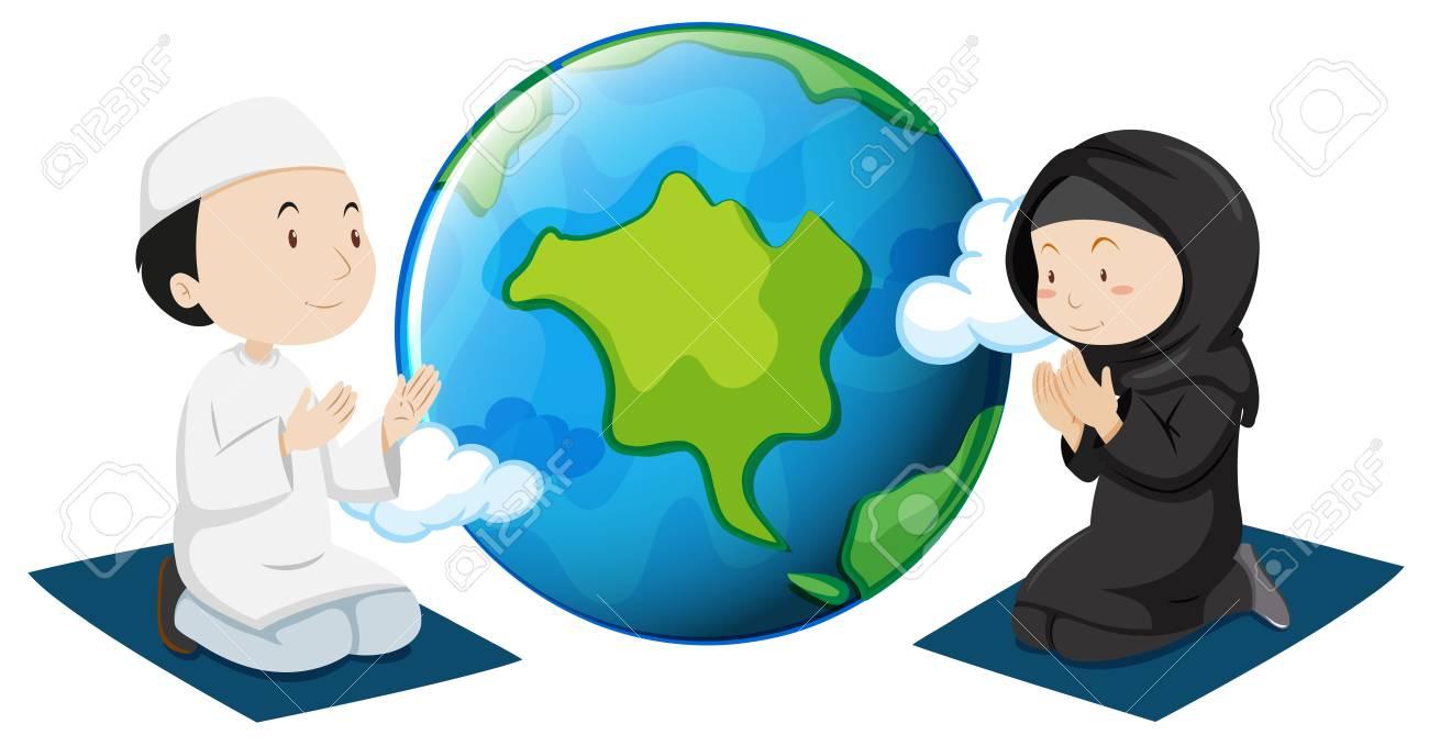 Muslim People Praying Around The World Illustration Royalty Free ...