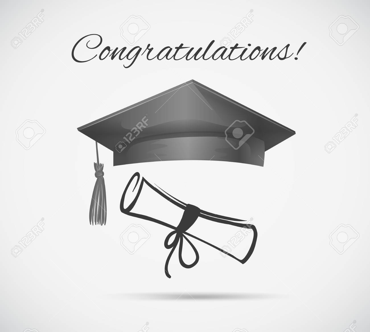 Congratulations Card Template With Graduation Cap Illustration ...