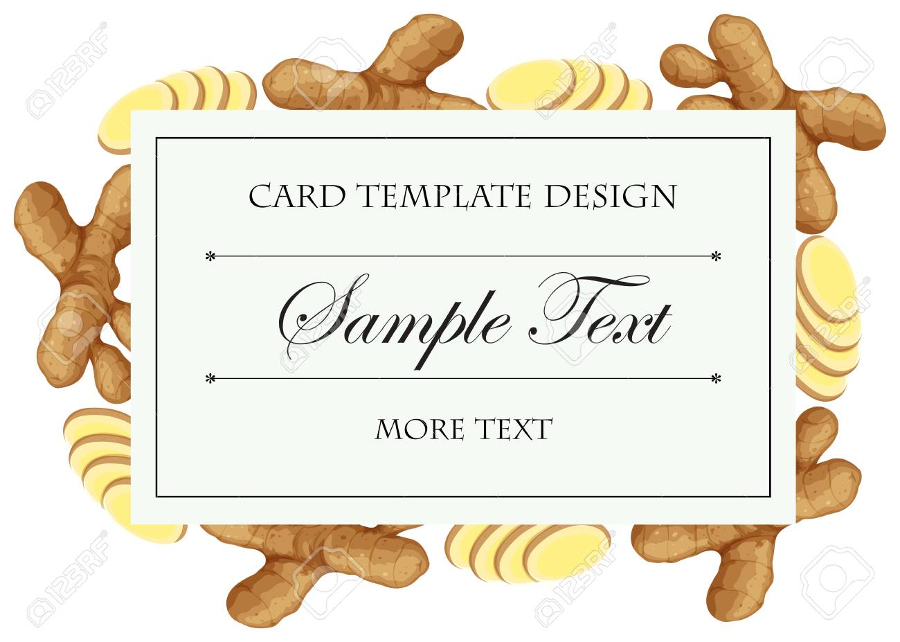 Card Template | Card Template With Fresh Ginger On Border Illustration Lizenzfrei