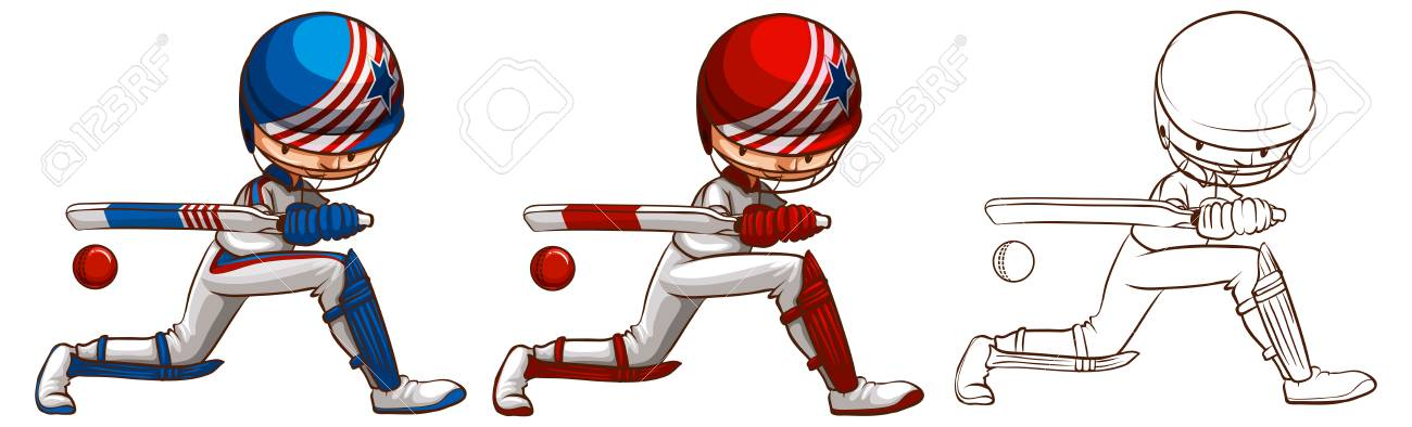 Doodle Character For Cricket Player Illustration