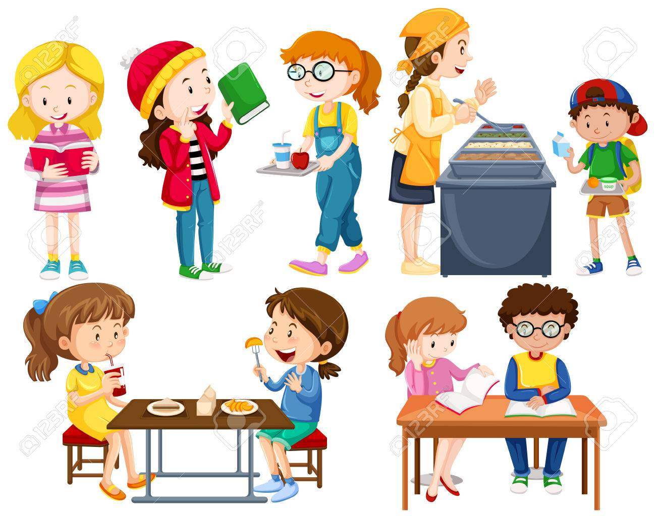 183 school canteen stock vector illustration and royalty free school