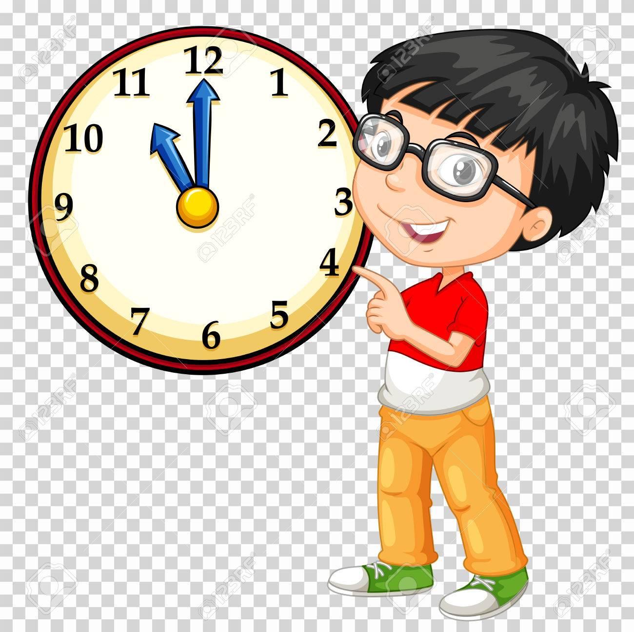 Boy looking at clock on transparent background illustration - 78000085