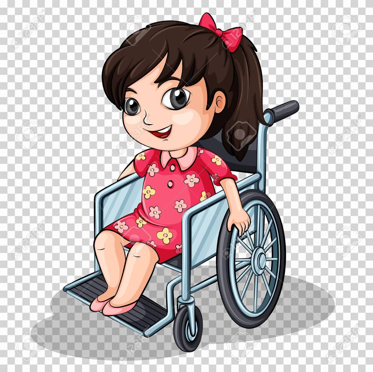 Girl on wheelchair on transparent background illustration - 78000018