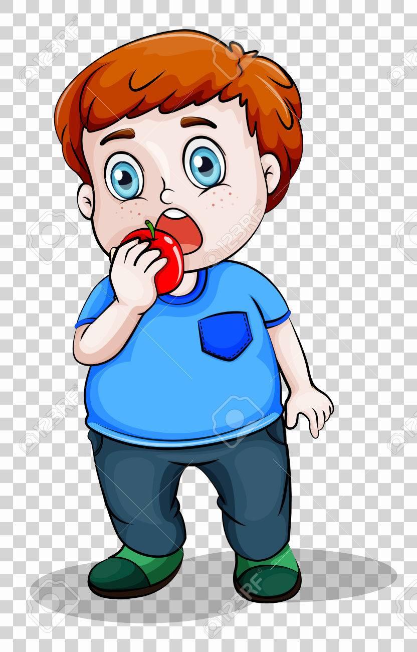 Fat Boy Eating Apple Illustration