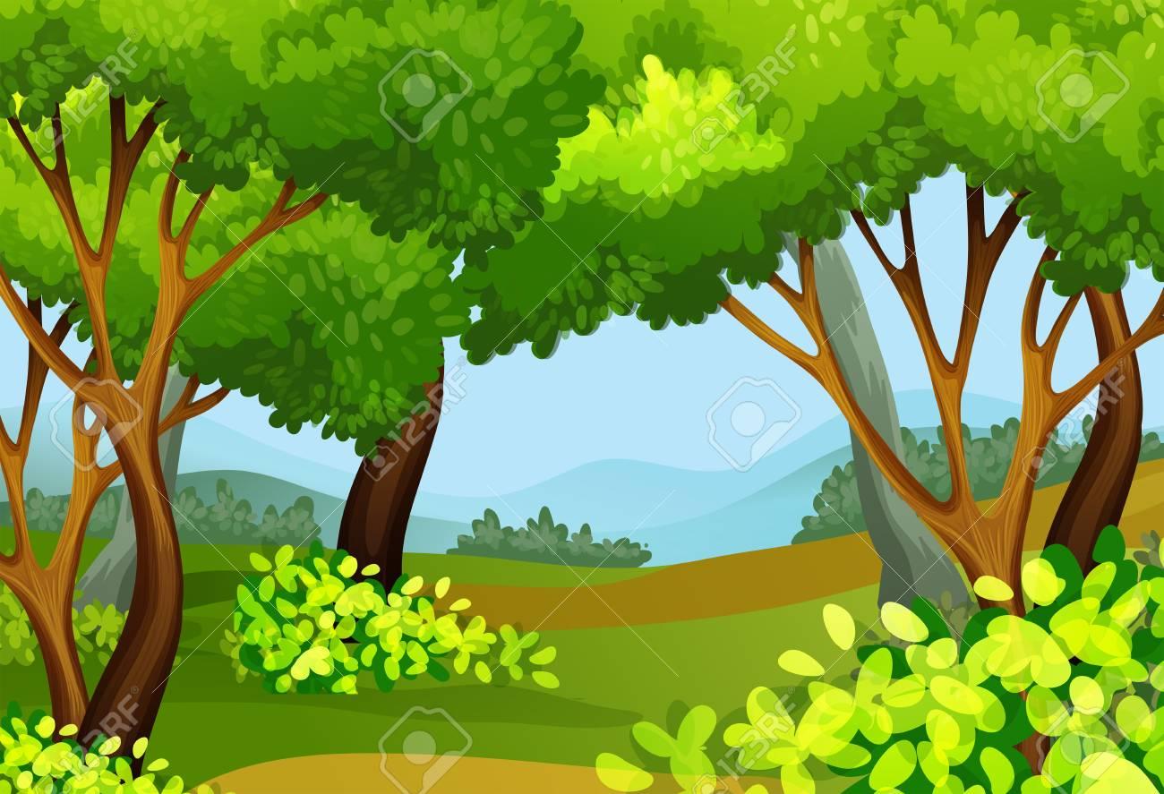 背の高い木々 のイラストと森のシーンのイラスト素材ベクタ Image