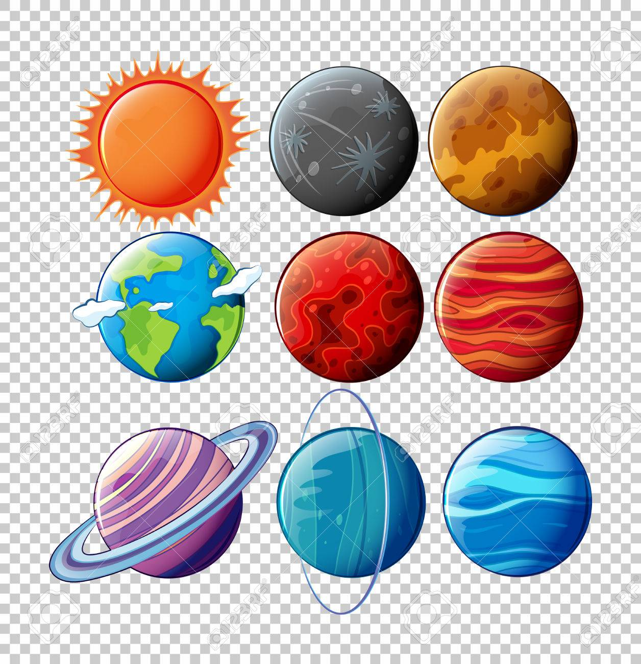 different planets in solar system on transparent background rh 123rf com solar system clip art for kids solar system clipart black and white