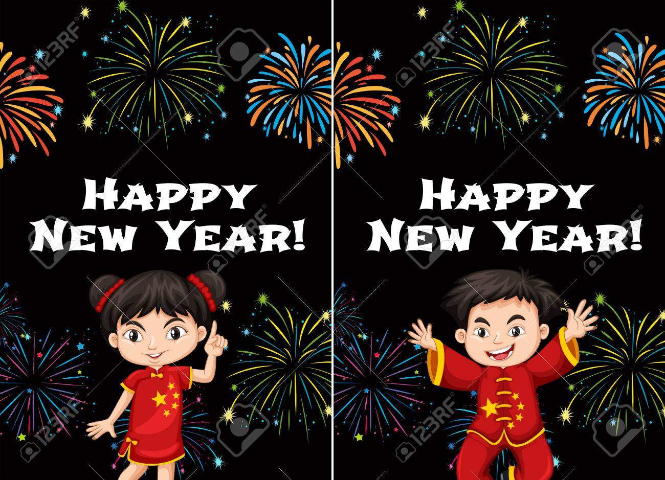 Chinese Kids And Happy New Year Card Templates Illustration Royalty