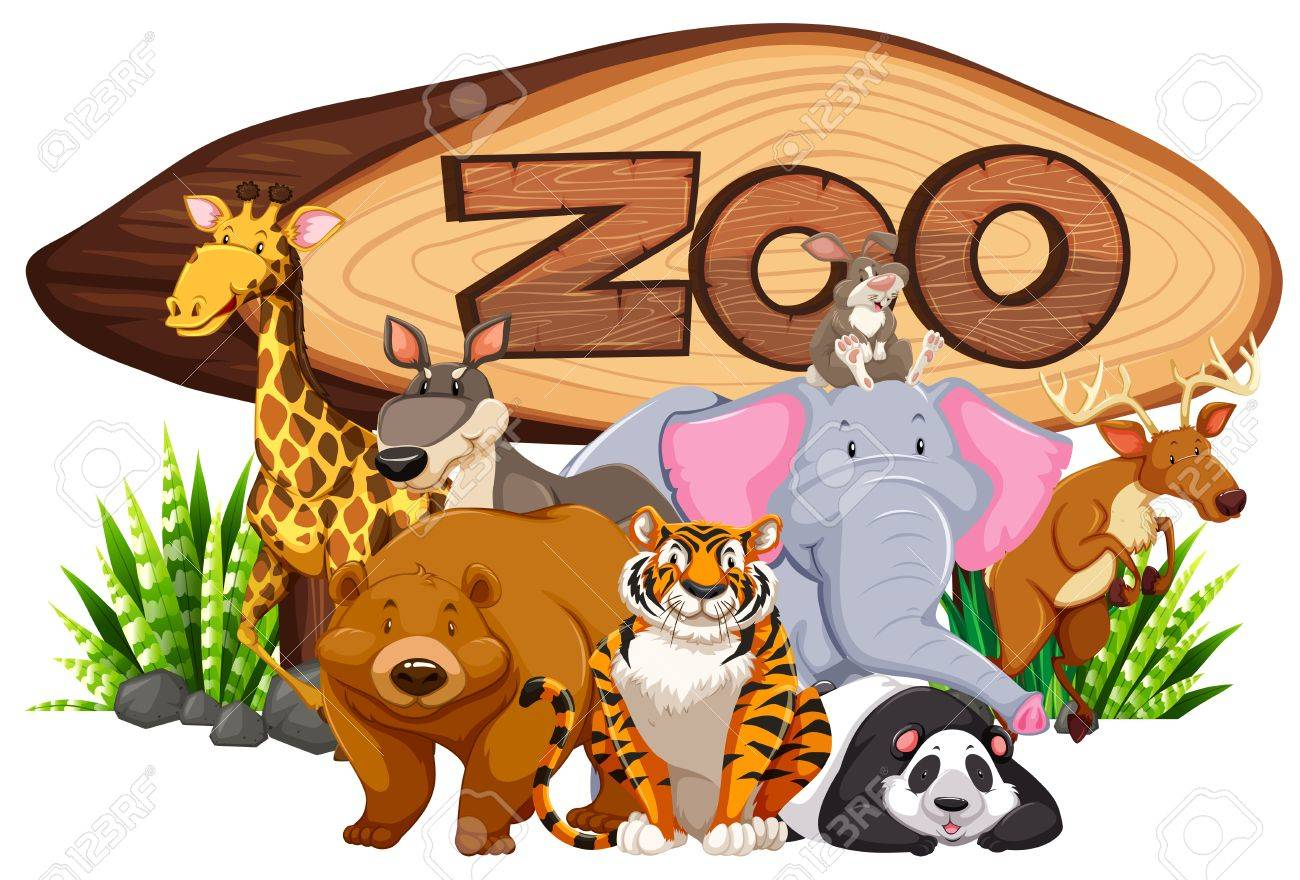 Wild Animals By The Zoo Sign Illustration Royalty Free Cliparts