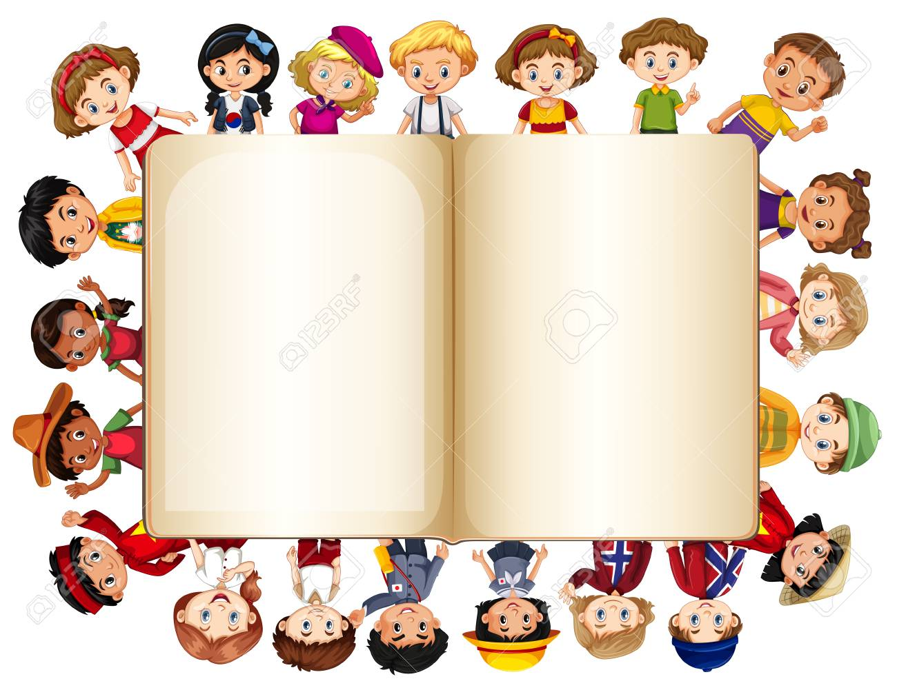 Blank Book Template With Children On Border Illustration Royalty