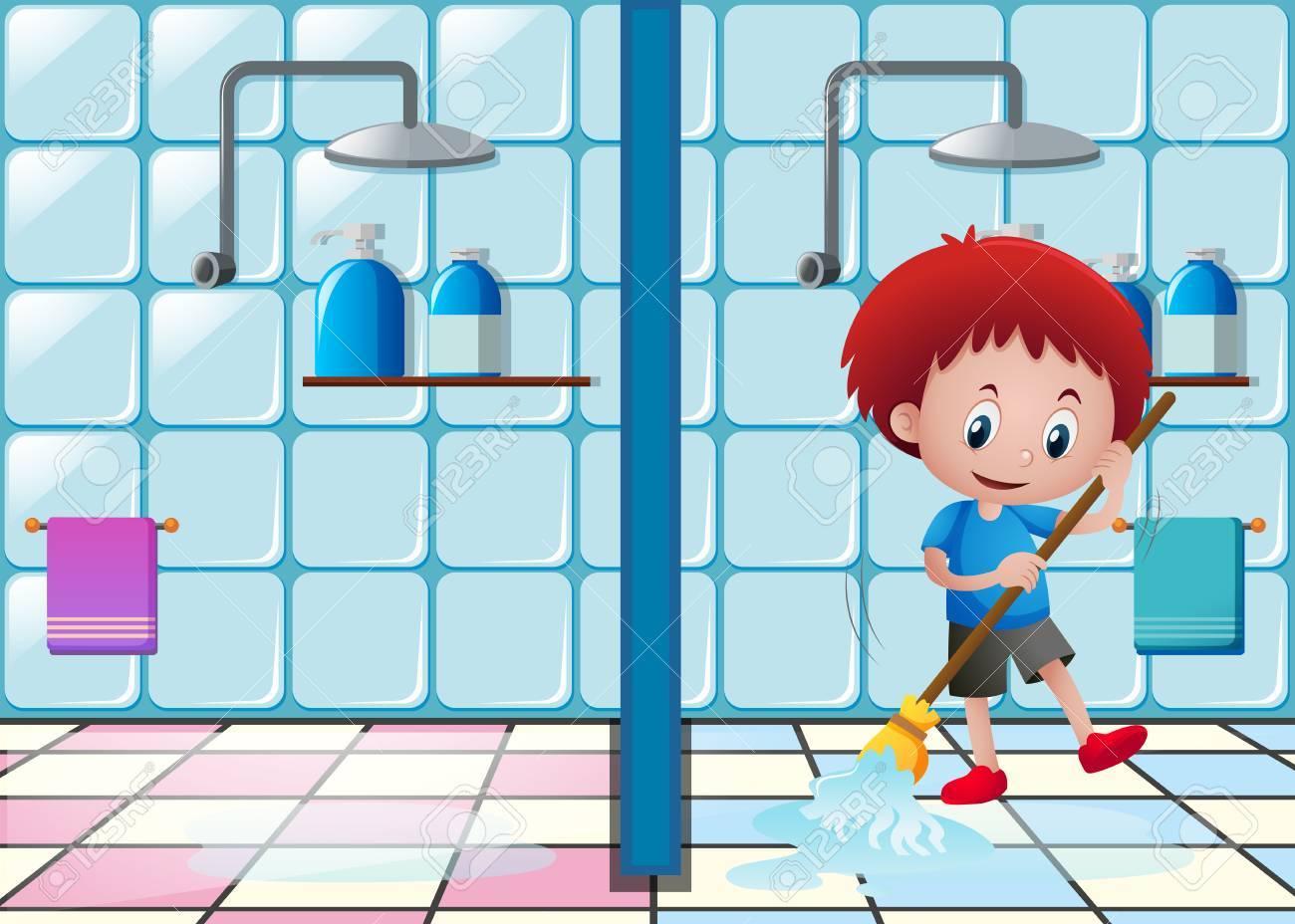 Little Boy Mopping The Bathroom Floor Illustration Stock Vector