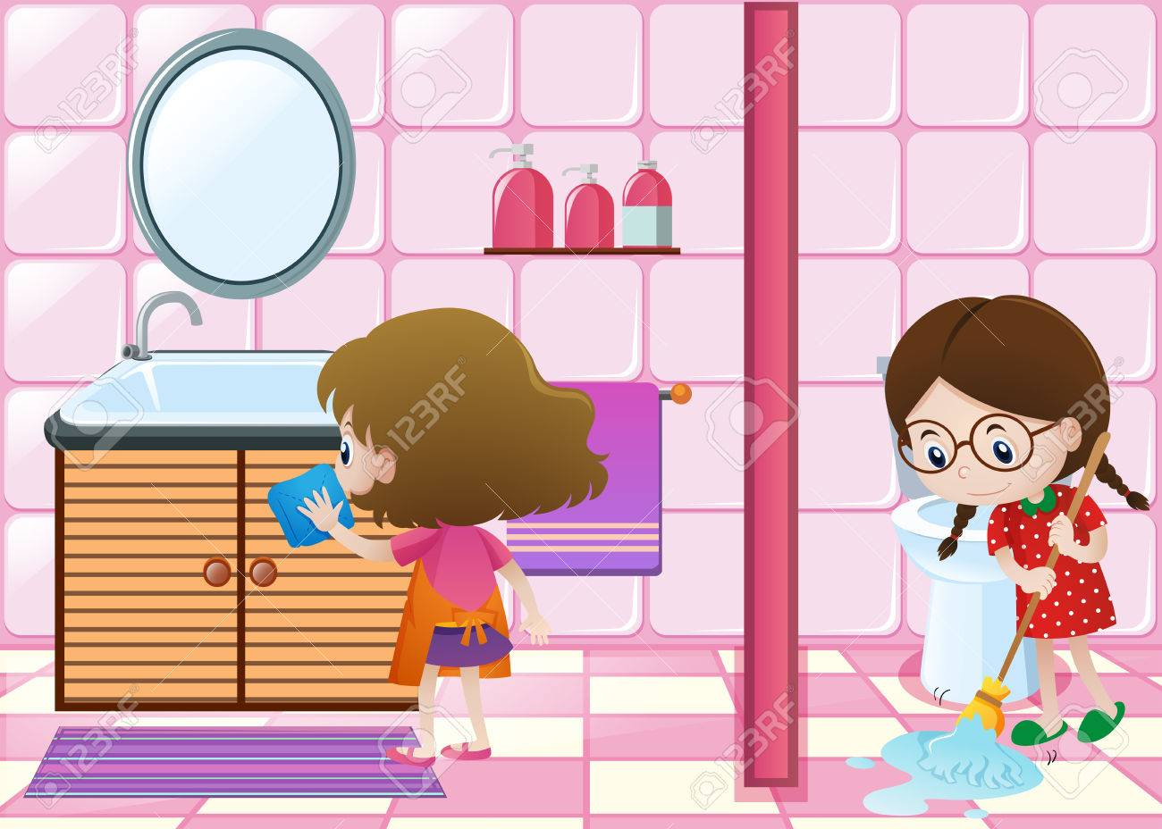Two Kids Cleaning Bathroom Together Illustration Stock Vector