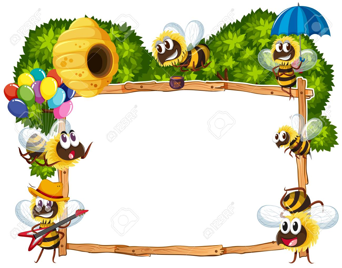 border template with bees flying illustration royalty free cliparts rh 123rf com