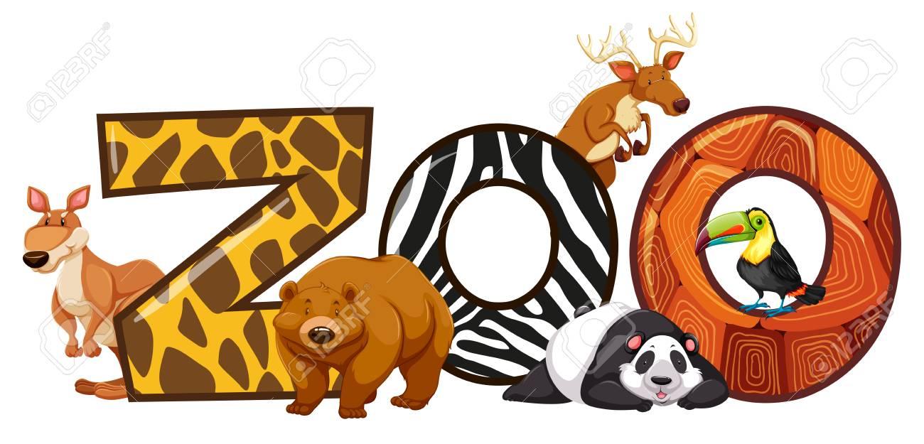 単語動物園イラスト フォント デザイン ロイヤリティフリークリップ