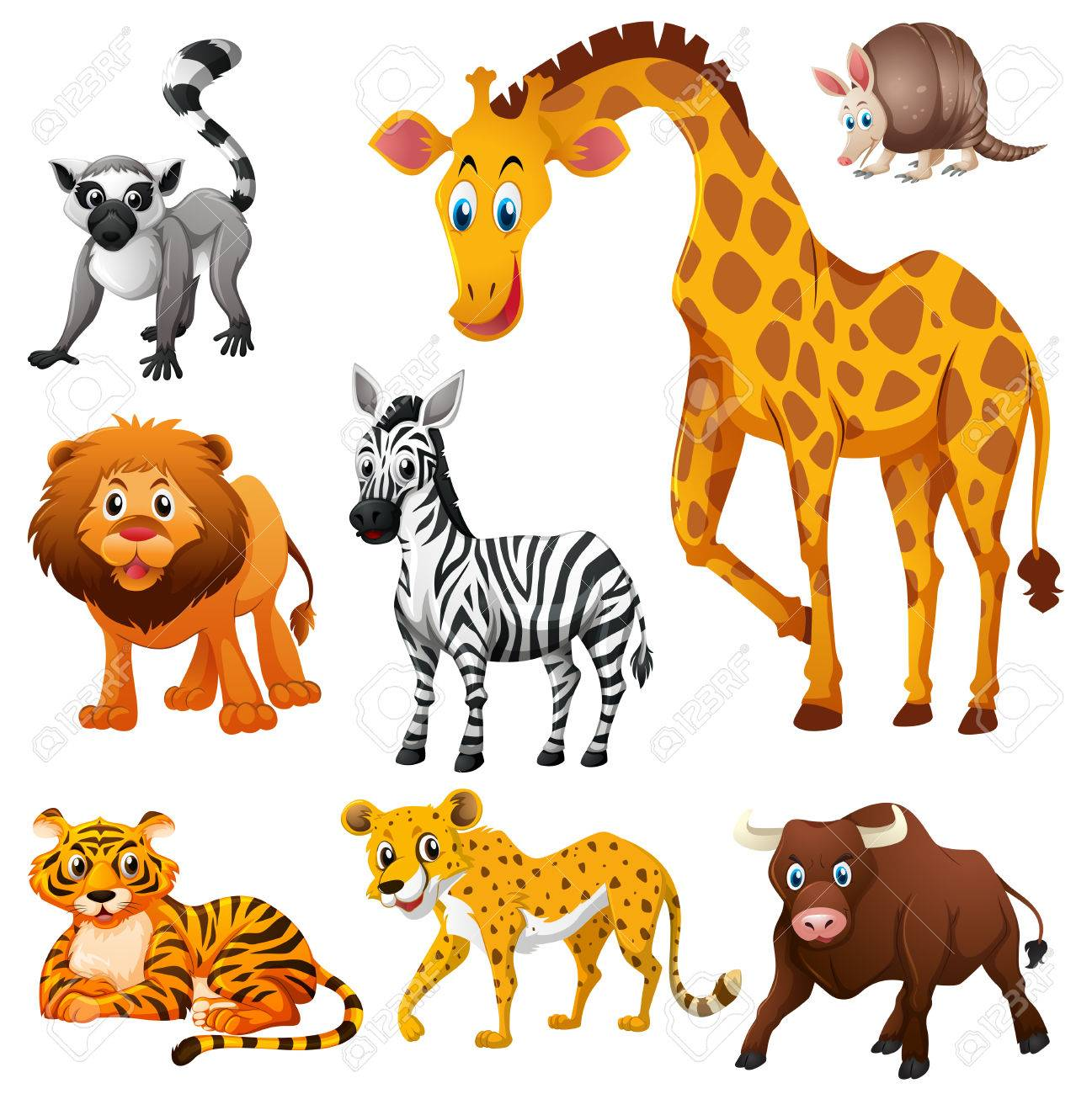 Different Kinds Of Wild Animals Illustration Royalty Free Cliparts ...