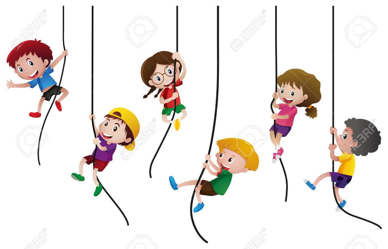 Many kids climbing up the rope illustration - 80898333