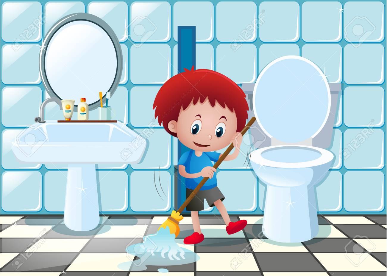 Little Boy Cleaning Bathroom Floor Illustration Stock Vector