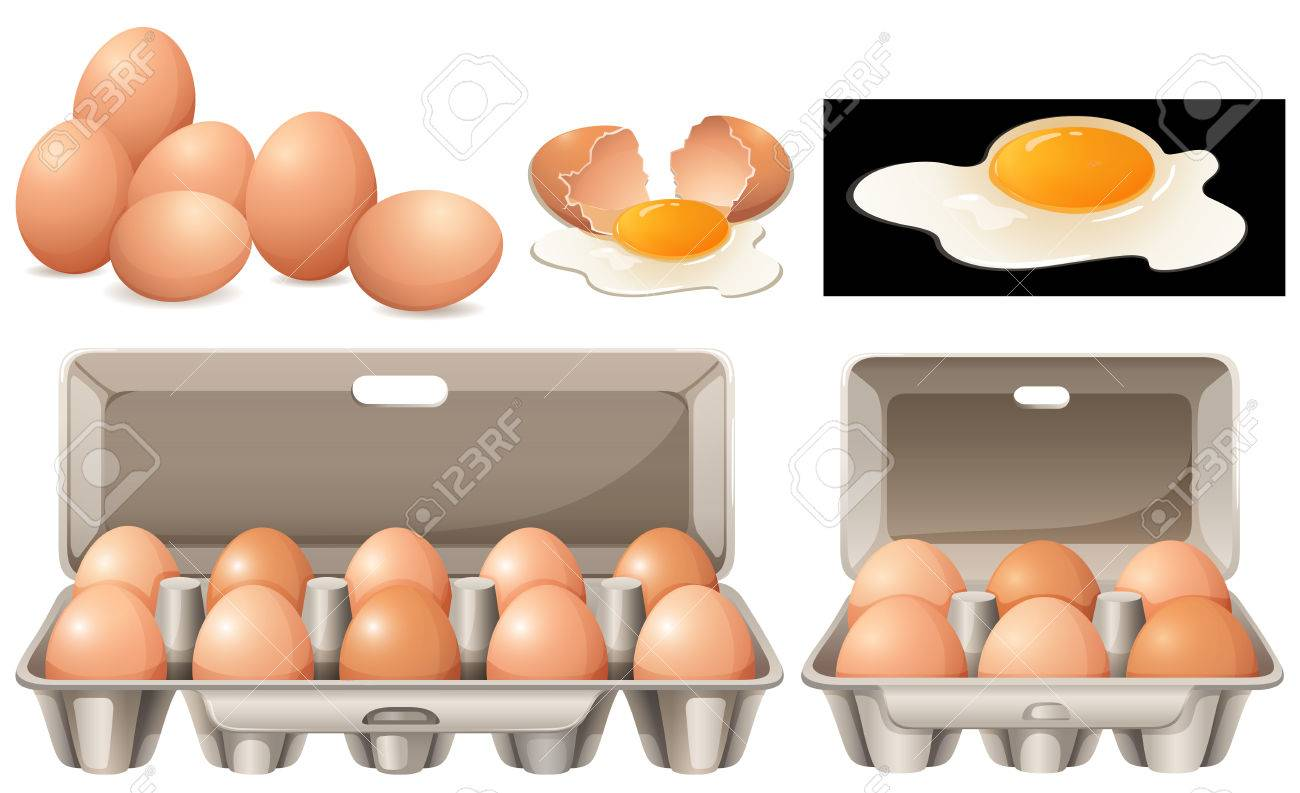 Raw eggs in different packages illustration - 80862775