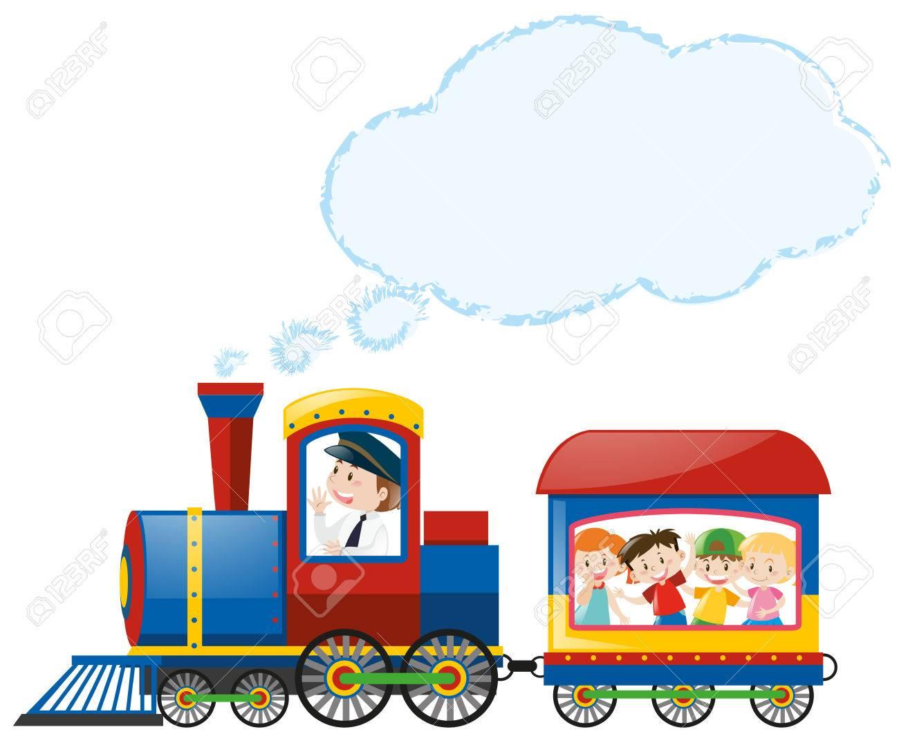 Children riding on train illustration - 80862663